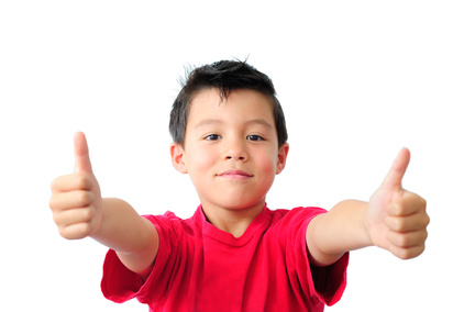 Boy in Red T-Shirt with Two Thumbs Up