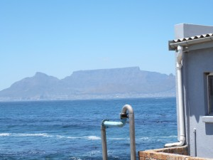 Table Mountain over Cape Town--seen from the prison on Robben Island